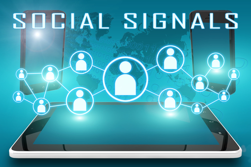 Social Signals - text illustration with social icons and tablet computer and mobile cellphones on cyan digital world map background